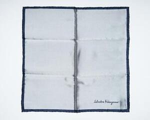 Salvatore Ferragamo Silver Navy Border Text 100% Silk Pocket Square 13""