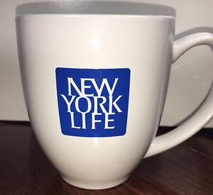 New York Life Insurance Ceramic Coffee Tea Mug 14oz Promo White Blue Logo