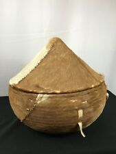 Ethiopian Woven Basket with Horse Hair Hide Brown White Leather Straps Handmade