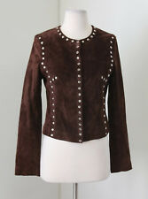 Cache Brown Silver Snap Studded Genuine Leather Jacket Size S Chic Biker Fall