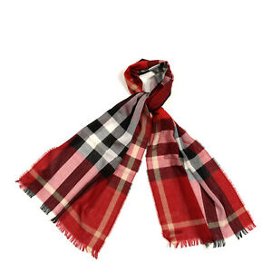 BURBERRY Wool Cashmere Unisex Tonal Check Lightweight Fringe Scarf Parade Red