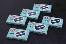6 X CLIX Vintage Blue Double Edge Razor Blades Mens Face Shaving 5-Pack Bundle