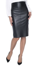 Olsen Black PU Leather & jersey Pencil Skirt. Size 12. RRP £99