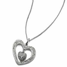 Silver plated women's heart cubic zirconia valentines necklace costume jewellery