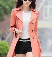 Chic Womens Lapel Double Breasted Belt Slim Fit Mid Long Lace Trench Coat Jacket