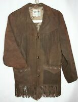 Vintage Mens Brown Pioneer Wear Western Suede Leather Fringe Jacket Size 38