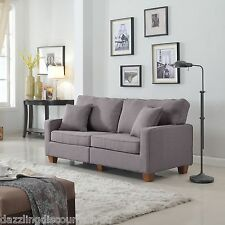 Classic Light Grey 73 inches Love Seat Linen Fabric Living Room 2 Accent Pillows