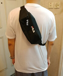 NEW FILA LOGO BLACK Waist Cross-body Bag with LOGO Keychain from Japan Magazine