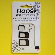 BLACK 3 Adapters Nano SIM to Micro/Standard SIM Card Adaptors iPhone 5S/4S/3GS