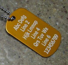 PERSONALIZED Dog Tag Necklace Horizontal Wording ORANGE - Custom Laser Engraved