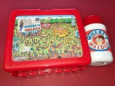 Vintage 1990 Where's Waldo Thermos Red Lunchbox W/Thermos, NEW