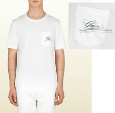 GUCCI MENS TOP WHITE COTTON T-SHIRT SIGNATURE LOGO ROUND NECKLINE sz XL