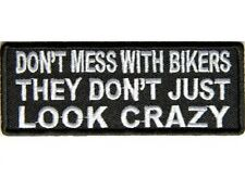 "(A29) DONT MESS WITH BIKERS 4"" x 1.5"" iron on patch (5055) Biker Vest Cap patch"