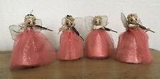 Vintage Pink Angels Mesh Foil Musician Violin Set Of 4 Japan