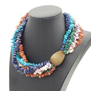 Vtg Multi Strand Turquoise Lapis Lazuli Malachite Chip Shell Necklace Statement