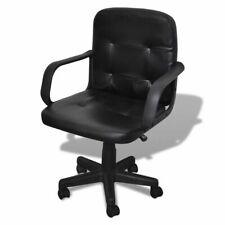 vidaXL Silla de Oficina de Cuero Calidad Negro 59x51x81-89 cm Silla giratoria