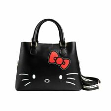Hello Kitty Debossed Black Tote Handbag - Sanrio Womens Ladies Large Bag