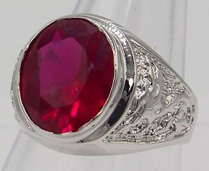 MEN RING DRAGON RED RUBY SILVER 18K WHITE GOLD FILLED GP STONE SOLITAIRE SZ 9 v