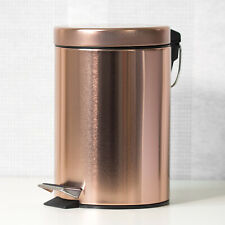 Small 3 Litre Copper Rose Gold Pedal Bin with Lid Kitchen Bathroom Office