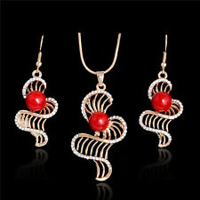 Hot Sought Special Style 18K Gold Plated Red Bead Crystal Necklace Earrings Set