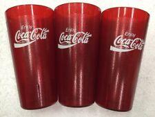 3 Coke Coca Cola Red Plastic Glasses Diner Tumblers Cups Cambro Lot Set 20 Oz