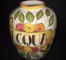 """Deruta Fratelli Mari Hand-Painted Ceramic Botanical Large Vase Pitcher ITALY 13"""""""
