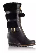 New SOREL 9 M Black HELEN HOLIDAY Leather Fur Waterproof Winter Wedge Boots