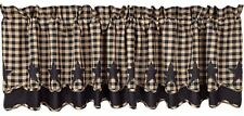 "Handkerchief Style Country Window Valance Black Star Patches Dark Tan Check 72""W"