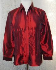 Coldwater Creek Button Down Fitted Top With Beads Burgundy ~ Size M