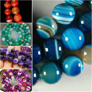 """AAA Natural 5 -color Stripe Agate Onyx Round Gemstone Loose Beads 15"""""""