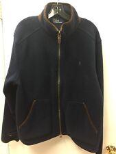 Polo Ralph Lauren Fleece Jacket Suede Leather Trim Men's  XL