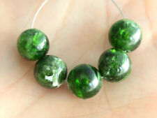 8mm. Natural Organic Raw Chrome Diopside Smooth Round Ball Gemstone Beads