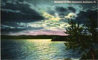 Vintage Postcard - Moonlight On Lake Champlain Vermont VT Linen #931