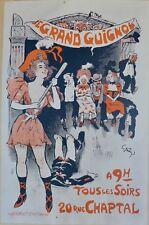 Affiche ancienne Lithographique De GRUN pour le GRAND GUIGNOL entoilée TBE