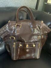 YSL Yves Saint Laurent Downtown Tote Bag Brown Patent Leather Handbag Purse EUC