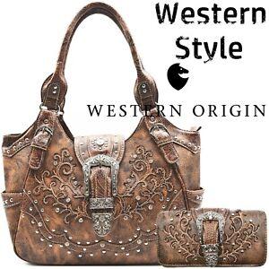 Western Buckle Concealed Carry Purse Country Handbag Women Shoulder Bag Wallet