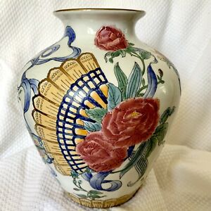 """Vintage Chinese Hand-Painted Floral Porcelain Vase  9"""" Tall"""