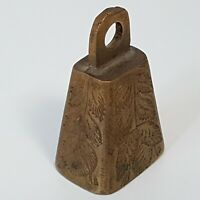 """Small Vintage Brass Cow Bell Engraved with Branches Leaves 2"""""""