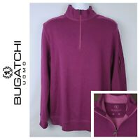 Bugatchi Mens Purple Long Sleeve 1/4 Zip Sweater Size Large -sweatshirt pullover