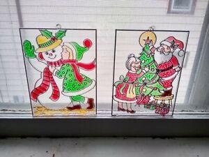 2 Vtg Xmas Plastic Pictures Suncatcher Window decoration Snowman Santa Mrs Claus