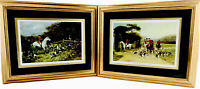 """TWO Vintage Heywood Hardy Framed Equestrian Prints """"Over the Stile"""" """"The Finish"""""""