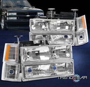 Fit 1994-1999 Chevy C/K Suburban Tahoe Headlight Headlamp w/Bumper+Corner Chrome