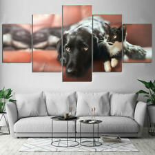 Dog Cat Pet 5 Panel Canvas Printed Home Decor Photo Wall Art Customise Wallpaper