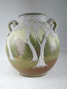 Antique Nippon Porcelain Table Vase Dragon Trees Moriage Hand Painted Vintage