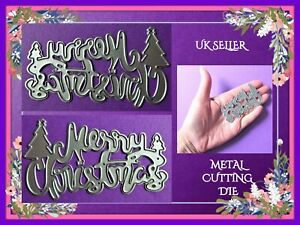 Merry Christmas Sentiment Metal Cutting Die Word Tree Xmas Craft Card Making UK