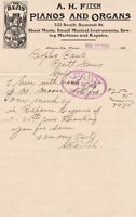 United States A.H. Fitch Pianos and Organs 1903 The Davis Logo Invoice Ref 39473