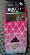 Adidas Soccer Socks men's 1 pr Lightweight Compression Pink-Green-White sz M #8