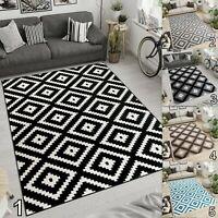 Moroccan Trellis Rugs Grey Black White Living Room Bedroom Home Decor Area Rug