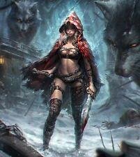 75MM Girl Women Female Red Riding Hood War figure Resin Model Kit Unpainted