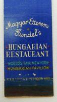 Mogyart Etterem Gundel's Hungarian Worlds Fair Pavilion Vintage Matchbook Cover